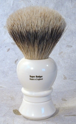 Ivory Color Lathe Turned Handle Super Badger Brush