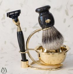 Faux Marble and Gold Tone Five Piece Silver Tip Bristle Shaving Set