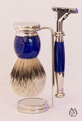 Cobalt Blue and Nickel Three Piece Silver Tip Set with Sensor Razor