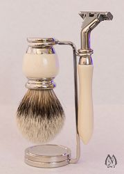 Faux Ivory and Nickel Three Piece Silver Tip Set