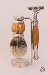 Nickel and Olive Wood Three Piece Silver Tip Set with Sensor Razor