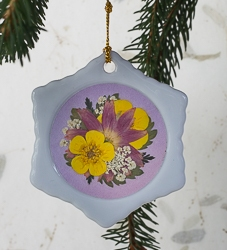 Real Pressed Flower Handmade Snowflake Shaped Ornament - sf-02