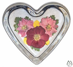 Heart Glass Paperweight with Real Pressed Rose
