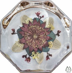 Octagon Glass Paperweight with Real Pressed Astrantia