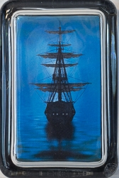 Rectangle Glass Paperweight with Sailing Ship Design