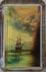 Rectangle Glass Paperweight with Sailing Ship Design - 2