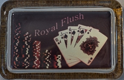 Rectangle Glass Paperweight with Royal Flush Design - 4