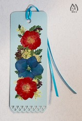 Handmade Pressed Flower Bookmark with Red Roses