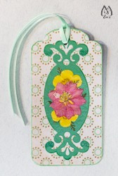 Handmade Pressed Flower Bookmark with Pink Larkspur