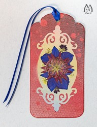 Handmade Pressed Flower Bookmark with Astrantia
