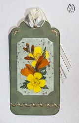 Handmade Pressed Flower Bookmark with Orange Montbretia