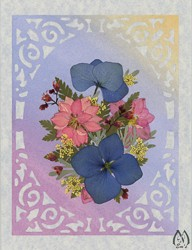Real Pressed Flower All-Occasion Card with Pink Larkspur
