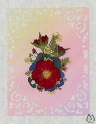 Real Pressed Flower All-Occasion Card with Red Rose