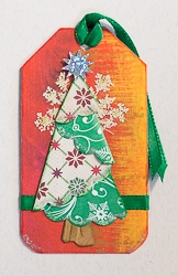 Holiday Tag with Origami Fold Christmas Tree - 01