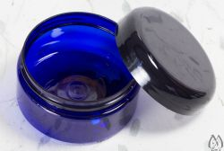 Blue Plastic Travel Jar with Screw Top Lid