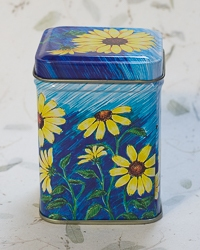 Candle in Daisy Flower Design Tin