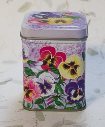 Candle in Pansy Flower Design Tin