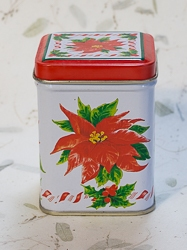 Candle in Poinsettia Holiday Design Candle Tin