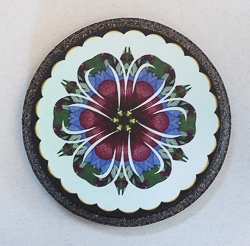 Round Wood Coaster with Pressed Flower Kaleidoscope Image - 01