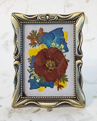 Real Pressed Geum in Antique Brass Tone Rectangular Frame