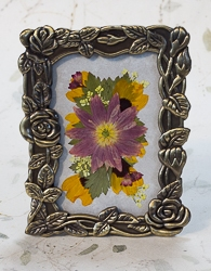 Real Pressed Columbine in Antique Brass Tone Rose Border Rectangular Frame