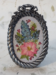 Real Pressed Pink Larkspur in Pewter Tone Oval Frame