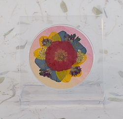 Real Pressed Flowers on Acrylic Easiel Curio Display - ac-01