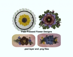 DIY Digital Four Assorted Pressed Flower Designs