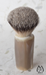 Large Genuine Faceted Horn Handle Silver Tip Shaving Brush