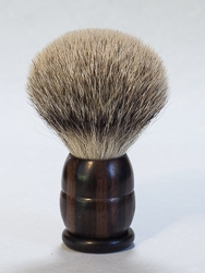 "Macassar Ebony Wood Handle ""Silver Tip"" Shaving Brush"