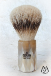 Omega Horn Faceted Handle Silver Tip Brush - A