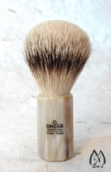 Omega Horn Faceted Handle Silver Tip Brush - B