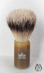 Omega Horn Faceted Handle Silver Tip Brush - D