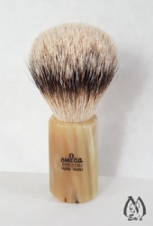 Omega Horn Faceted Handle Silver Tip Brush - E