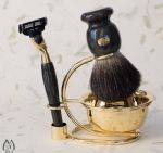 Faux Marble and Gold Tone Five Piece Badger Bristle Shaving Set