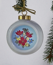 Real Pressed Flower Handmade Ornament with Red Hawaiian Star Flowers - rd-01
