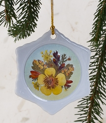 Real Pressed Flower Handmade Snowflake Shaped Ornament - sf-01