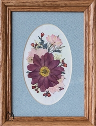 Real Pressed Anemone and Pink Larkspur in 5x7 Inch Frame - pic-5x7-1