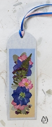 Handmade Pressed Flower Bookmark with Larkspur - bk-10