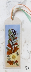 Handmade Pressed Flower Bookmark with Montbretia - bk-8